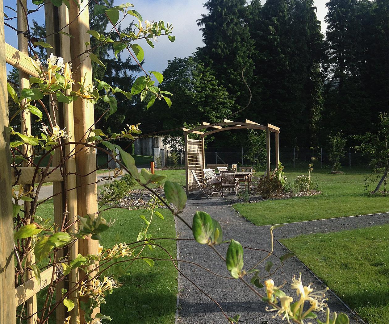 Le jardin adaptée de l'unité en addictologie du centre hospitalier de Saint-Vaury